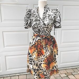 Diane Von Furstenberg wrap  Dress 6 8 leopard